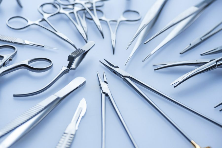 Blue tone image of assorted surgical instruments